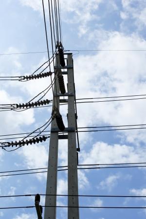Electricity post sky background photo