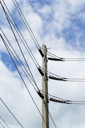isolator switch: Electricity post sky background Stock Photo