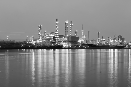 Oil refinery industrial plant back and white