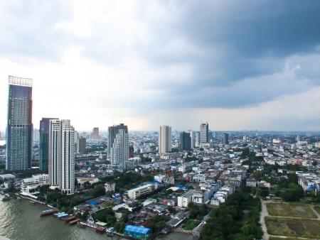 City Top View at afternoon in bangkok photo