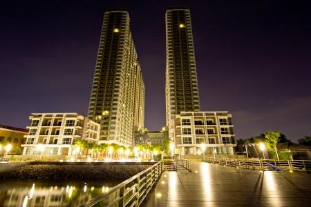 Twin towers at night, bangkok,Thailand Stock Photo - 16667856