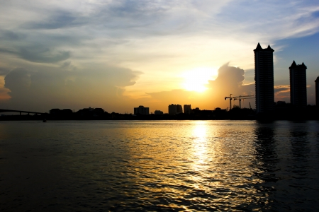 Sunset at the view beautiful bangkok Stock Photo