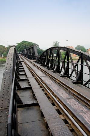 Death Railway between Thailand and Burma.Bridge though river Kwai at Kanchanaburi Stock Photo