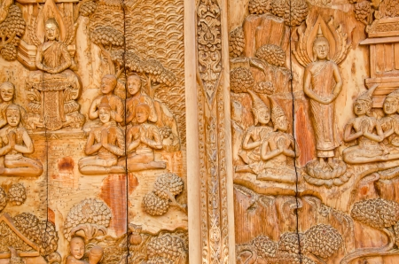teak: Thailand teak carved door style temple in Thailand