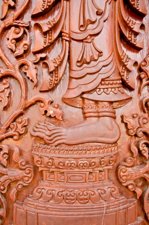 Thailand teak carved door style temple in Thailand Stock Photo - 19163292