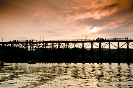Cityscape of wooden bridge at Sangklaburi in Kanchanaburi, Thailand photo