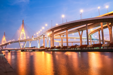 bhumibol: Bhumibol Bridge in Thailand.The bridge crosses the Chao Phraya River twice.