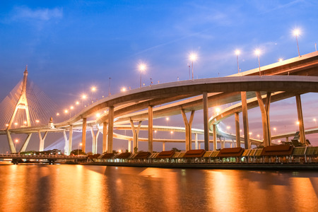 Bhumibol Bridge in Thailand.The bridge crosses the Chao Phraya River twice.