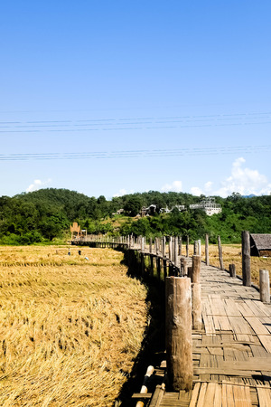 Su Tong Pe bridge is made of bamboo at Mae Hong Son, Thailand