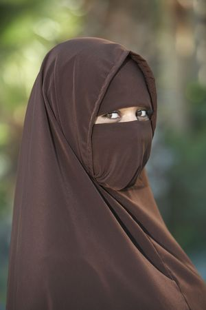 niqab: Portarit of young woman in brown niqab LANG_EVOIMAGES