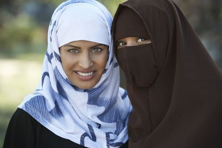 Portrait of two muslim women Stock Photo