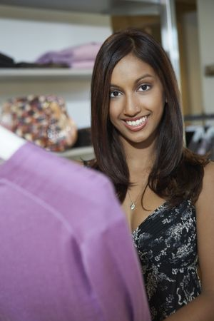 Portrait of woman at clothes shop Stock Photo - 3540793
