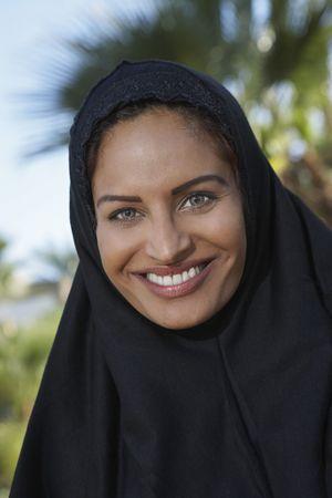 Portrait of muslim woman in black headscarf Stock Photo - 3540857