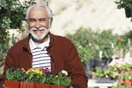 one senior man only: Elderly man holding tray with potted flowers