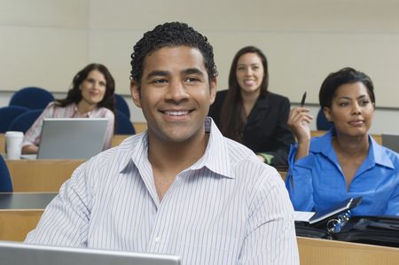 training: Business people sitting in classroom