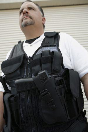 Portrait of security guard in bulletproof vest Stock Photo - 3540782