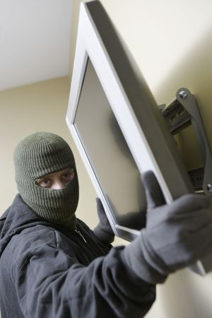 Thief stealing flat screen television Stock Photo - 3540742