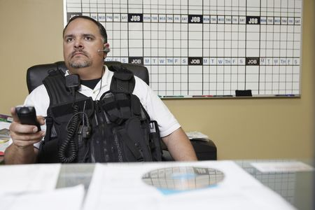 security vest: Security guard at work