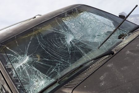 Close-up of car with broken windshield Stock Photo - 3540989