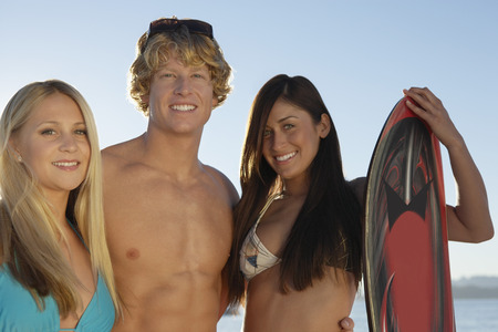 Young friends in swimwear outdoors, portrait Stock Photo - 3812236