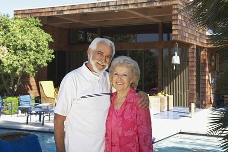 Portrait of senior couple outside house Stock Photo - 3812373