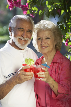 Portrait of senior couple with drinks outdoors Stock Photo - 3812535