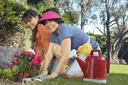 Two women planting flowers in garden Stock Photo - 3812650