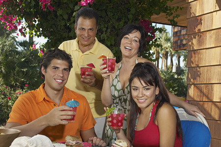 Family with drinks in garden Stock Photo - 3812670