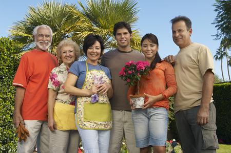 Three couples gardening, portrait Stock Photo - 3812680
