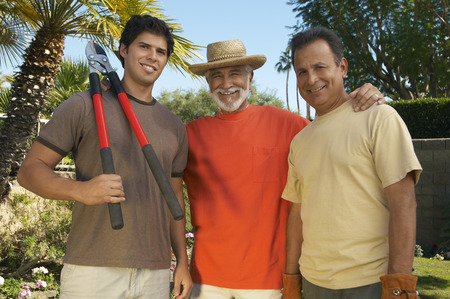 Portrait of three men gardening Stock Photo - 3812641