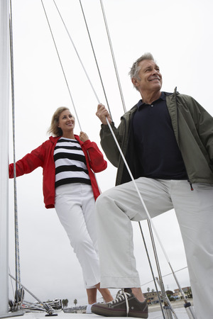 Couple on yacht, low angle view Stock Photo - 3811110