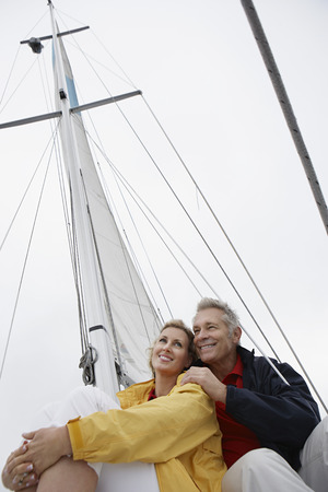 Couple on yacht, low angle view Stock Photo - 3811107