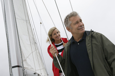 Couple on yacht Stock Photo - 3812180