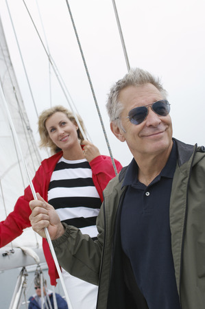 Couple on yacht Stock Photo - 3811215