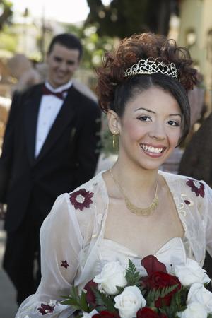 Bride with bouquet, portrait Stock Photo - 3811225