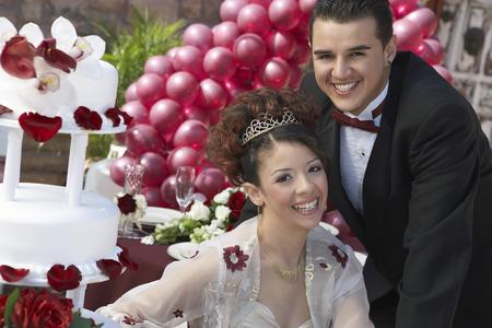 mariage mixte: Mari�s et � rire de mariage, portrait