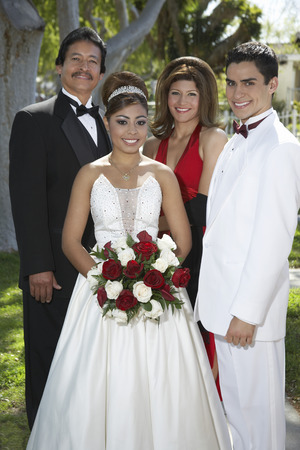 Portrait of wedding couple with parents Stock Photo - 3811223