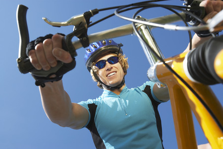 Young man on bicycle outdoors Stock Photo - 3812262