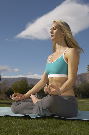 Young woman performing yoga in park Stock Photo - 3812220