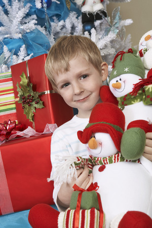 Boy (5-6) holding stuffed snowman in front of Christmas tree, portrait Stock Photo - 3812274