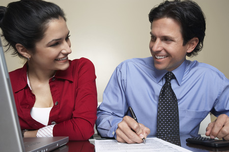 Business man and woman working in office Stock Photo - 3813166
