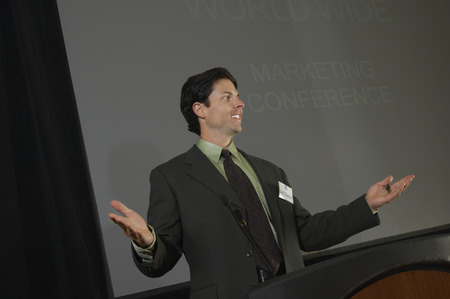 Mid adult man during presentation at conference Stock Photo - 3813153