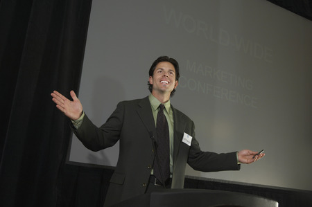 Mid adult man during presentation at conference Stock Photo - 3813145