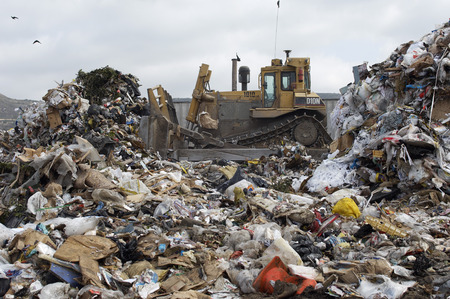 landfill site: Digger moving waste at landfill site