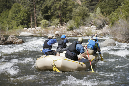 Whitewater rafting, back view Stock Photo - 3811548