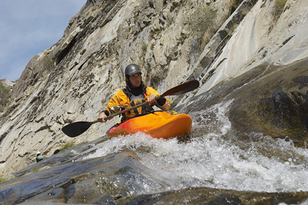 Man kayaking in mountain river Stock Photo - 3811564
