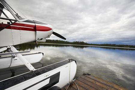 USA, Alaska, sea plane tied to pier, close up Stock Photo - 3811458
