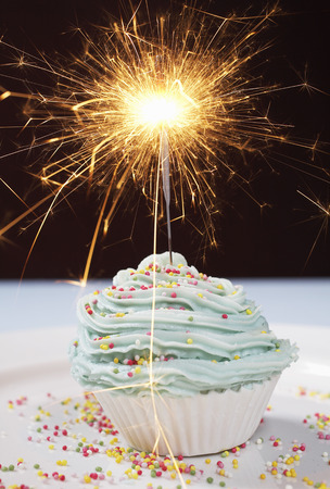 Single cupcake with lit sparkler Stock Photo