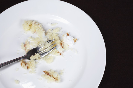 Fork and cake crumbs on plate, view from above