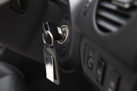 Car ignition with key, close-up Stock Photo - 3811403